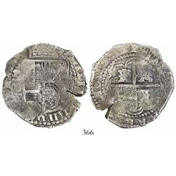 Potosi, Bolivia, cob 8 reales, 1649O/sR, with crowned-•F• countermark on shield.