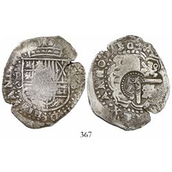 Potosi, Bolivia, cob 8reales, 1650O, with crowned-L countermark on cross.