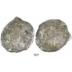 Potosi, Bolivia, cob 8 reales, 1655E, •PH• at top.
