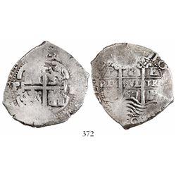 Potosi, Bolivia, cob 8 reales, 1667E, Philip IV (rare).