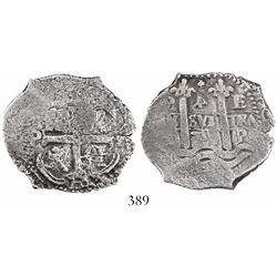 Potosi, Bolivia, cob 4 reales, 1678E, rotated denomination 4.