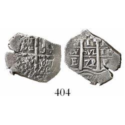 Potosi, Bolivia, cob 1 real, 1672/1E, rare.