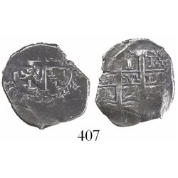 Potosi, Bolivia, cob 1 real, 1675+65E, rare.