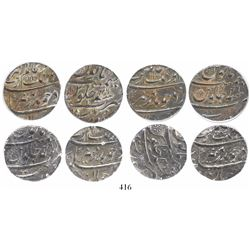 Lot of 4 Surat, India (Mughal Empire), rupees, Aurangzeb (1658-1707), AH1113 (1702), all encapsulate