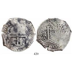 Potosi, Bolivia, cob 8 reales, 1692VR, ex-Christie's.