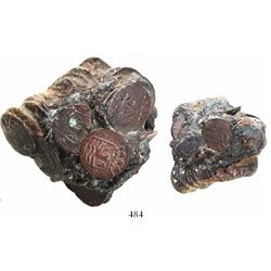 Clump of dozens of Dutch East India Company copper duits (Zeeland mint, dated 1752).