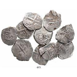 Lot of 10 Lima, Peru, cob 2 reales, Philip V and Ferdinand VI, various dates (where visible).