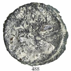 "Clump of 2 Spanish colonial 8 reales in a ""biscuit"" cocoon of shells and encrustation (as found)."