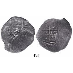 Potosi, Bolivia, cob 2 reales, 1671E, encapsulated NGC Genuine / Piedmont.