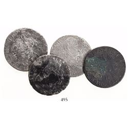 Lot of 4 crown-sized silver coins from various wrecks, as follows: France, ecu, 1725, from the Chame