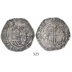 Mexico City, Mexico, cob 4 reales, Philip II, assayer O below mintmark oM to left.