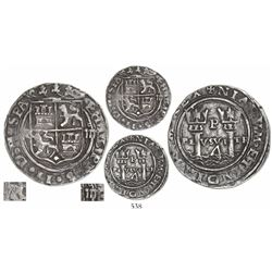 Lima, Peru, 4 reales, Philip II, assayer R to left (Rincon), denomination o-IIII to right, motto PL-