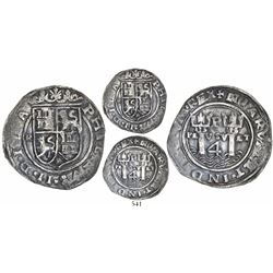 Lima, Peru, 4 reales, Philip II, assayer R (tiny) to left (Rincon), motto as PL-VSV-LT, legends ISPA