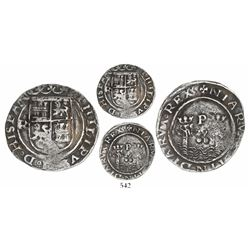 Lima, Peru, 2 reales, Philip II, assayer R (large) to left (Rincon), motto as PL-VSVL-TR(?), legends