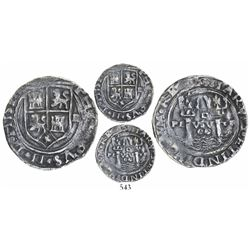 Lima, Peru, 2 reales, Philip II, assayer R to right (Rincon), motto as PL-VSV-TR, legends HISPA- and