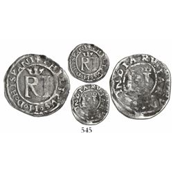 Lima, Peru, 1/2 real, Philip II, assayer R to left (Rincon), legends HISPANI- and -IARVM.