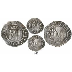 Lima, Peru, 1/2 real, Philip II, assayer R to left (Rincon), legends HISPA(N)- and -IARVM.
