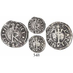 Lima, Peru, 1/4 real, Philip II, assayer R to left (Rincon), legend beginning on crowned-R side, bre