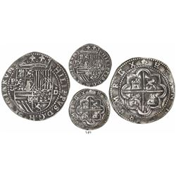 Lima, Peru, cob 8 reales, Philip II, assayer Diego de la Torre, P-8 to left, *-oD to right.