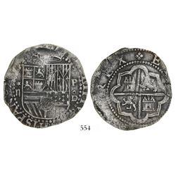 Lima, Peru, cob 2 reales, Philip II, assayer Diego de la Torre, *-ii to left, P-oD to right.
