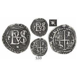 Lima, Peru, cob 1/2 real, Philip II, assayer Diego de la Torre, P to left, •D to right, */X below mo