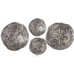 """Lima, Peru, cob 8 reales, 1660V, """"Star of Lima"""" type (Series III), with crowned-600 countermark"""