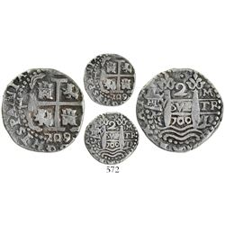 Lima, Peru, cob 2 reales Royal, 1709/8M, very rare.