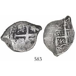 Lima, Peru, cob 2 reales, 1752R, rare final year of Lima cobs.