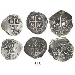 Lot of 3 Lima, Peru, cob 1R, various dates: 1694M, 1697H and 1704H.