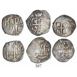 Lot of 3 Lima, Peru, cob 1R, various dates: 1694M, 1699R and 1715M.