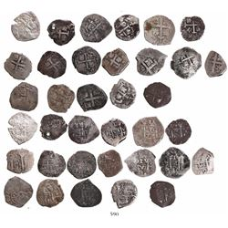 Lot of 18 Lima, Peru, cob 1R, various dates: 1685R, 1686R (2), 1687R (3), 1688R, 1689V, 1699R, 1704H