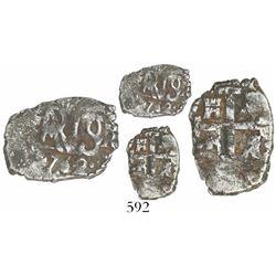 Lima, Peru, cob 1/2 real, 1752R, rare final date of Lima cobs.
