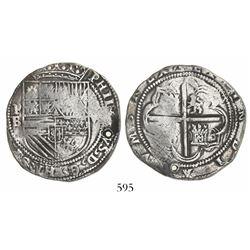Potosi, Bolivia, cob 8 reales, Philip II, assayer B (1st period).