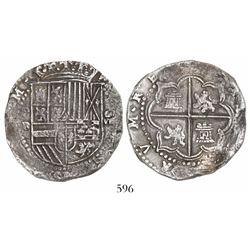 Potosi, Bolivia, cob 8 reales, Philip II, assayer B (3rd period), tiny assayer-mark.