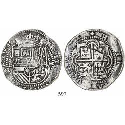 Potosí, Bolivia, cob 8 reales, Philip II, assayer B (late 3rd period).