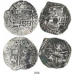 Lot of 2 Potosi, Bolivia, cob 8 reales, Philip III, assayer R (curved leg).