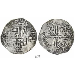Potosi, Bolivia, cob 8 reales, Philip III, assayer M, quadrants of cross transposed.