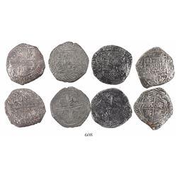 Lot of 4 Potosi, Bolivia, cob 8 reales, Philip II and III, assayers B, R (curved leg) and Q (where v