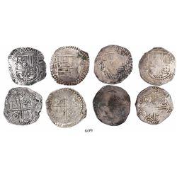 Lot of 4 Potosi, Bolivia cob 8 reales, Philip II and III, assayers B (4th period), RL, R (curved leg