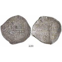 Potosi, Bolivia, cob 8 reales, 1617M, very choice full date.