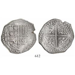 Potosi, Bolivia, cob 8 reales, 1618T, quadrants of cross transposed, bottom part of shield transpose