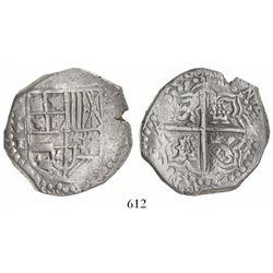 Potosi, Bolivia, cob 8 reales, 1618T, quadrants of cross transposed, bottom part of shield transpose