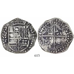 Potosi, Bolivia, cob 8 reales, 1619T mule with P•T (1622), unique.