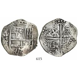 Potosi, Bolivia, cob 8 reales, (1)619T, quadrants of cross transposed.