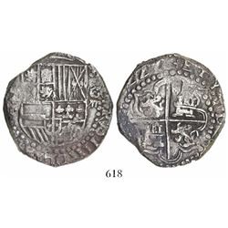 Potosi, Bolivia, cob 8 reales, (1)622T, quadrants of cross transposed.
