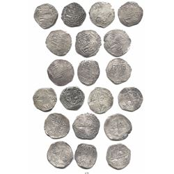 Lot of 10 Potosi, Bolivia, cob 8 reales, Philip III and IV, assayers Q, M and T (all visible).