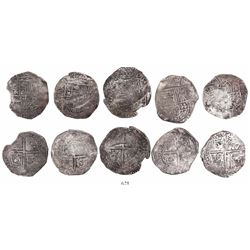 Lot of 5 Potosi, Bolivia, cob 8 reales, Philip III and IV, assayers not visible.