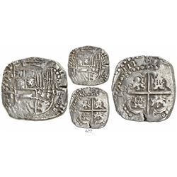 "Potosi, Bolivia, cob 8 reales, 1623T, date as ""(1)6(Z)III,"" lions and castles transposed in cross an"