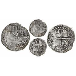 "Potosi, Bolivia, cob 8 reales, (16)24T, date as ""ZIIII"" (extremely rare), quadrants of cross transpo"
