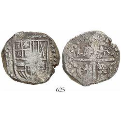 Potosi, Bolivia, cob 8 reales, 16(29)T, denomination 8, large-dot borders.